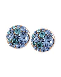Betsey Johnson - Pink Rose Gold-tone Blue Crystal Stud Earrings - Lyst