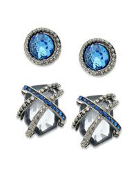 Guess | Earring Set Hematite Tone Blue Crystal Stud and Caged Crystal Button Earrings | Lyst