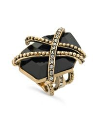 Guess | Metallic Ring Gold Tone Caged Jet Stone Ring | Lyst