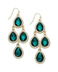 INC International Concepts - Goldtone Green Teardrop and Pave Chandelier Earrings - Lyst