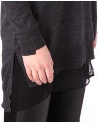 JOSEPH - Gray Merino Wool and Silk Tunic Jumper - Lyst