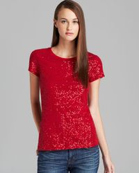 DKNY | Red Short Sleeve Sequin Tee | Lyst