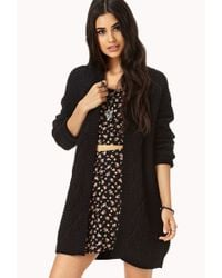 Forever 21 - Black Longline Mixed Knit Cardigan - Lyst