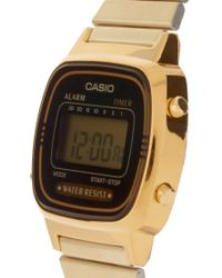 G-Shock - Metallic Black & Gold Mini Digital Watch La670wega-1ef - Lyst