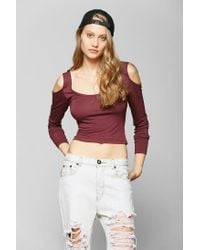 Urban Outfitters | Red Sparkle Fade Cold Shoulder Cropped Top | Lyst
