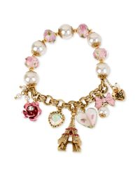 Betsey Johnson | Pink Antique Goldtone Eiffel Tower Multicharm Halfstretch Bracelet | Lyst