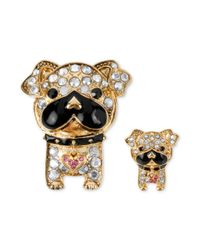 Betsey Johnson | Multicolor Goldtone Crystal Accent Bull Dog Pins | Lyst