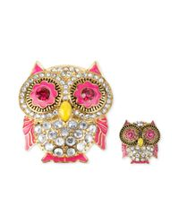 Betsey Johnson | Multicolor Gold-tone Crystal And Enamel Pin Set | Lyst