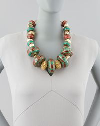 Devon Leigh - Multicolor Turquoise & Coral Beaded Nugget Necklace - Lyst