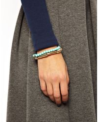 French Connection - Blue 2 Pack Bead Metal Heart Stretch Bracelet - Lyst
