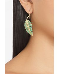 Jennifer Meyer - Metallic 18karat Gold Turquoise Leaf Earrings - Lyst