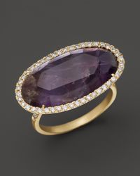 Meira T - Purple Diamond And Rough Amethyst Ring In 14K Yellow Gold - Lyst