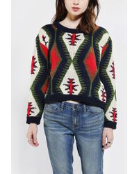 Urban Outfitters | Multicolor Reverse Intarsia Cropped Sweater | Lyst