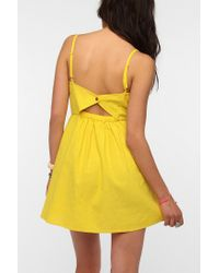 Urban Outfitters - Yellow Cope Scallop-Trim Linen Dress - Lyst