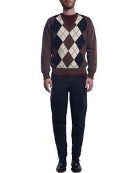 AMI - Brown Vneck Argyle Sweater for Men - Lyst