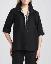 Caroline Rose - Black Linen Combo Shirt - Lyst