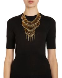 Fallon - Metallic Beaded Durango Bib Necklace - Lyst