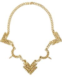 Fallon - Metallic Old Gold Rigid Bib Necklace - Lyst