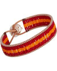 Nikki B - Orange Leather Cord Bracelet with Glass Beads - Lyst