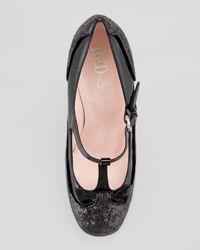 RED Valentino - Mary Jane Patent Glitter Pump Black - Lyst
