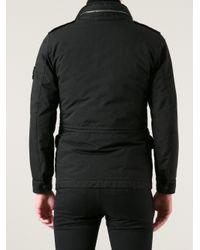 Stone Island - Black Stone Island Funnel Neck Coat for Men - Lyst