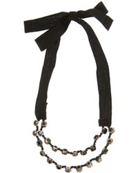 Ann Demeulemeester Blanche | Black Crystal and Ribbon Bracelet | Lyst