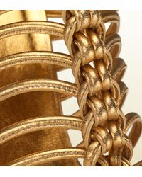 Gucci - Angelique Metallic Leather Hand-Knotted Cage Sandal - Lyst