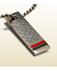 Gucci - Gray Keyring In Sterling Silver With Diamante Pattern for Men - Lyst