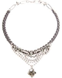 Rada' | Metallic Drop Crystal Ribbon Chain Necklace | Lyst