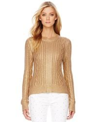 Michael Kors | Metallic Cable Knit Sweater | Lyst
