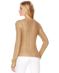 Michael Kors - Metallic Cable Knit Sweater - Lyst