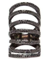 Rask Jewelry | Black 7tier Pave Ring | Lyst