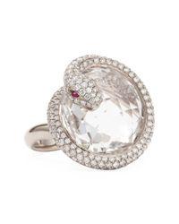 Roberto Coin - Metallic 18K White Gold Diamond Snake Ring - Lyst