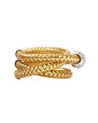 Roberto Coin - Metallic Primavera 18k Yellow Gold Ghsi Diamond Triplerow Ring 010tcw - Lyst