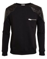 Saint Laurent | Black Leather Panel Sweatshirt for Men | Lyst
