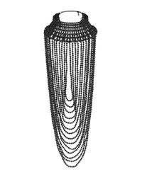 TOPSHOP | Black Mega Beaded Drape Necklace | Lyst
