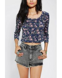Urban Outfitters | Blue Pins and Needles Printed Buttondown Cropped Top | Lyst