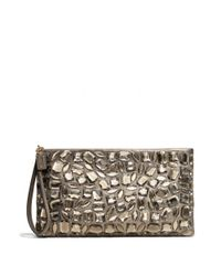 COACH - Metallic Madison Zip Clutch in Jeweled Leather - Lyst