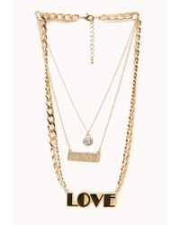 Forever 21 - Metallic Street-Chic Love Necklace - Lyst