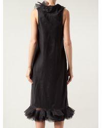 Lanvin - Black Ruffle Trim Dress - Lyst