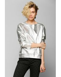 Urban Outfitters - Gray Foil Pullover Sweatshirt - Lyst