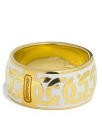 COACH - White Linked Signature C Ring - Lyst