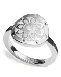 COACH - Metallic Sterling Signature C Disc Ring - Lyst