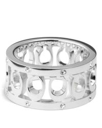 COACH | Metallic Sterling Signature C Pave Band Ring | Lyst