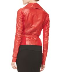 Donna Karan | Red Belted Doublecollar Leather Jacket | Lyst