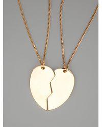 Stella McCartney - Metallic Broken Heart Pendant Necklace - Lyst