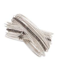 Coomi | Metallic Spring Silver Interlocking Bracelet With Diamonds | Lyst