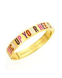 kate spade new york | Metallic New York Bracelet Goldtone Kick Up Your Heels Hinged Idiom Bangle Bracelet | Lyst