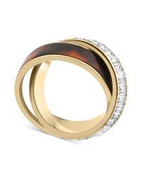 Michael Kors - Metallic Goldtone Tortoise Baguette Crisscross Ring - Lyst
