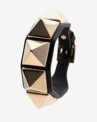 Valentino - Black Rockstud Leather Belt Bracelet - Lyst